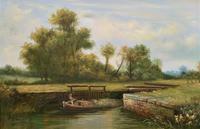 Superb Large Vintage Gilt-Framed Landscape Oil Painting of Barge on the Canal (4 of 13)