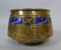 WMF Art Nouveau Planished Brass & Enamel Planter Jardiniere Albert Meyer (6 of 8)