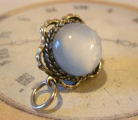 Vintage Pocket Watch Chain Fob 1950s Big Silver Nickel Victorian Revival Fob (4 of 8)