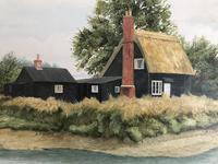 John Ridgewell Essex Cottage Superb Large Oil Painting Excellent Frame (4 of 9)