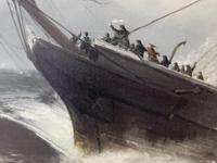 Huge 19th Century Seascape Oil Painting Sinking Ship Signalling Rescuers by Henry E Tozer (12 of 58)