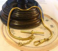 Vintage Pocket Watch Chain 1970 12ct Gold Plated Snake Link Albert With T Bar