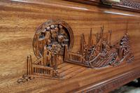 Early 20th Century Oriental Carved Teak and Camphor Wood Chest (8 of 12)