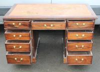 1920s Mahogany Pedestal Desk with Brown Leather on Top (4 of 4)