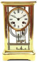 Fine  Antique French Table Regulator with Compensating Pendulum 8 Day 4 Glass Mantel Clock