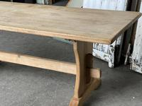 French Bleached Oak Trestle End Farmhouse Dining Table (3 of 19)