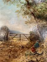 Antique Victorian landscape oil painting entitled Lunch Time by PG Hewett (6 of 11)