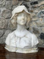 Alabaster Bust of Young Girl Wearing a Bonnet (2 of 25)
