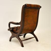 Regency Style Leather Armchair & Stool (9 of 14)