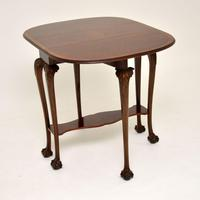 Antique Burr Walnut Drop Leaf Dining Table (8 of 11)