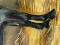Oil Painting Portrait Study Black Horse in Stable Signed Alice Mary Burton RBA '1893-1968' (17 of 26)