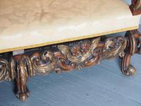 Charles II Style Gilded Walnut Humpback Sofa (9 of 11)