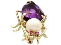 12.39ct Amethyst, Pearl & Ruby, 14ct Yellow Gold Insect Brooch - Vintage c.1960 (2 of 9)