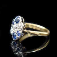 Antique Blue Sapphire and Old Cut Diamond Cluster 18ct 18K Yellow Gold and Platinum Ring (5 of 10)