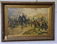 Antique Oil Painting - Wellington At Waterloo, The Dawn Of Day June 18th 1815 (After Robert Alexander Hillingford 1896) (6 of 8)