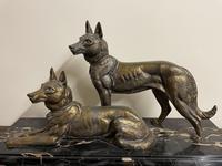Art Deco Spelter German Shepherd Dogs On Marble Base (2 of 7)