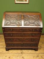 Antique Carved Oak Writing Bureau Desk with Fall Front, Handsome Gothic Piece (2 of 24)