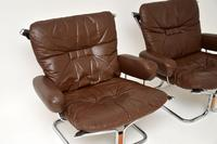 1960's Pair of Leather & Chrome Armchairs by Ingmar Relling (3 of 12)