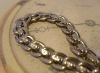 Antique Pocket Watch Chain 1910 Art Nouveau Silver Chrome Graduated Albert Nos (6 of 11)