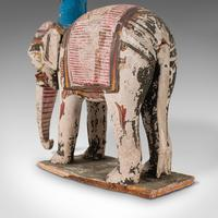 Antique Decorative Elephant and Rider, Indian, Hand Painted, Figure, Victorian (4 of 12)