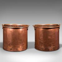 Pair of Antique Fireside Bins, English, Copper, Coal, Fire Bucket, Victorian (2 of 12)