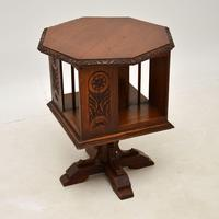 Small Antique Arts & Crafts Oak Revolving Bookcase (2 of 10)