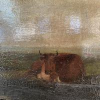 Antique large Georgian landscape oil painting study of cows (7 of 9)