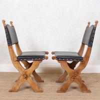 6 Oak Gothic Dining Chairs Carved (9 of 14)