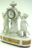 French Empire Figural Mantel Clock – Bisque Porcelain Cherub Verge Mantle Clock c.1800 (4 of 13)