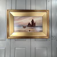Antique Edwardian Marine Seascape Oil Painting of Sailing Boats '2 of 2'