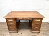 Antique Oak Pedestal Desk (3 of 10)