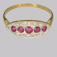 Antique Ruby & Old Cut Diamond Ring 18ct Gold Edwardian / Art Deco Ring c.1910 (4 of 8)