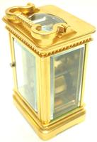 Good Antique French 8-day Carriage Clock Bevelled Case with Embossed Decorated Masked Dial (9 of 12)