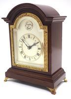 Impressive Mahogany Edwardian Bracket Clock Timepiece Mantel Clock (4 of 8)