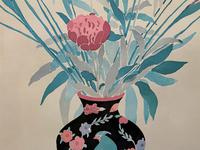 Large Original Japanese Inspired Floral Still Life Watercolour Painting (11 of 12)