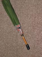 Vintage 12ct Rolled Gold Ladies Umbrella W/ Green Paisley Pattern Cotton Canopy (7 of 13)
