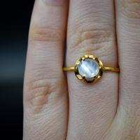 Vintage Moonstone Round Buttercup 18ct 18k Yellow Gold Ring (5 of 9)