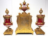 Incredible French Sevres Mantel Clock French Striking 8-day Garniture Clock Set (18 of 19)