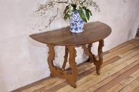Charming 18th Century Italian Demi-Lune Lyre-Leg Fruitwood Table (5 of 13)