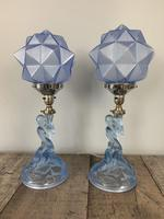 Pair of Art Deco Walther & Sohne Glass Table Lamp, Rewired & Pat Tested c.1930 (5 of 9)
