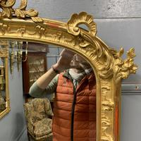 Large French gilt overmantle mirror 185cm (6 of 8)