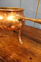 Antique Copper Posnet. Brandy Warmer Saucepan (9 of 10)