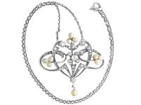 Natural Pearl & 0.94ct Diamond, 9ct Yellow Gold Pendant - Antique Victorian (9 of 9)