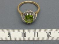 9ct Gold, Peridot And Diamond Cluster Ring (4 of 5)