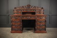 Carved Oak Pedestal Desk (3 of 19)