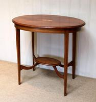 Oval Inlaid Occasional Mahogany Table (6 of 9)