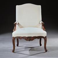 Generous French 19th Century Carved Open Armchair Fauteuil (7 of 7)