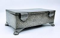 Antique Arts & Crafts Art Deco Hammered Pewter Cigarette Box (6 of 9)