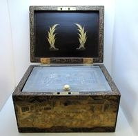 Rare Antique Chinese Lacquered Giltwood Large Tea Caddy Chest / Box / Casket with Pewter Liner c.1800 (3 of 16)