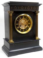 Antique French Slate Mantel Clock 8-Day Square Bracket Striking Mantle Clock with Gilt Decoration (11 of 11)